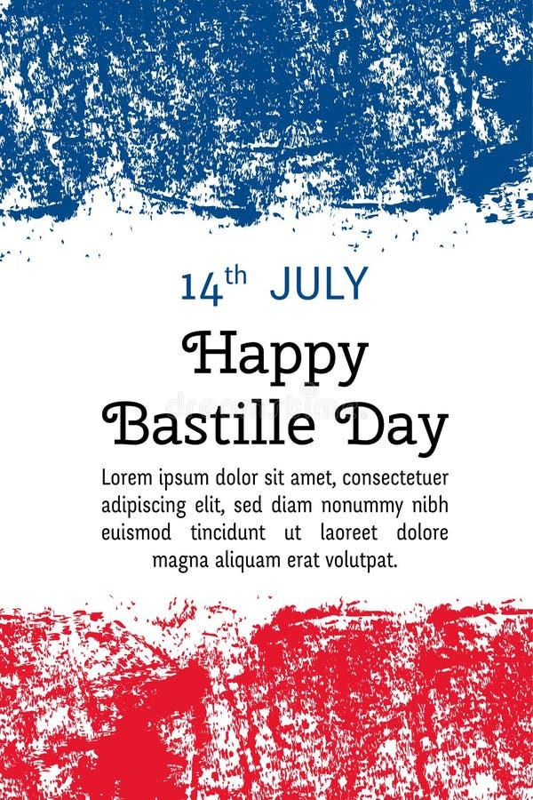 Dagen för vektorillustrationbastillen, franska sjunker i moderiktig grungestil 14 Juli designmall för affischen, baner, flayer stock illustrationer