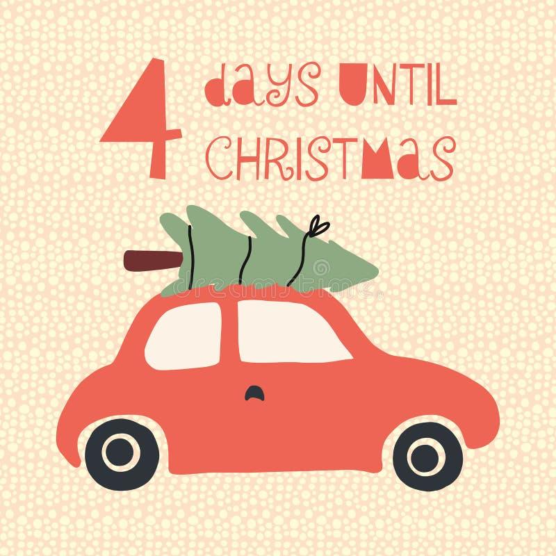 4 dagen tot Kerstmis vectorillustratie Kerstmisaftelprocedure vier dagen Uitstekende stijl Hand getrokken boom op auto Symbool va vector illustratie