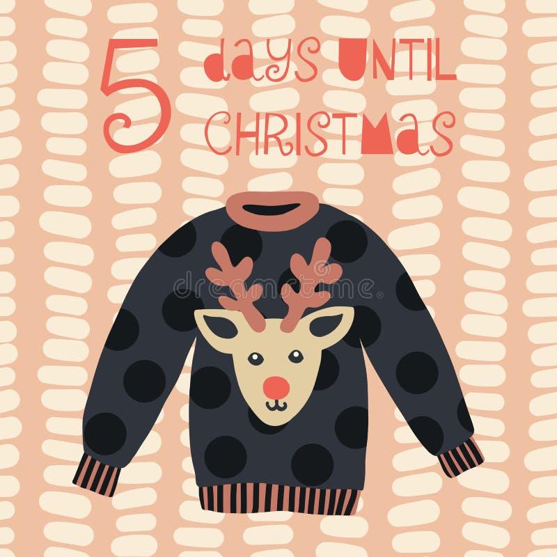5 dagen tot Kerstmis vectorillustratie Kerstmisaftelprocedure vijf dagen Uitstekende stijl Hand getrokken lelijke sweater Symbool stock illustratie