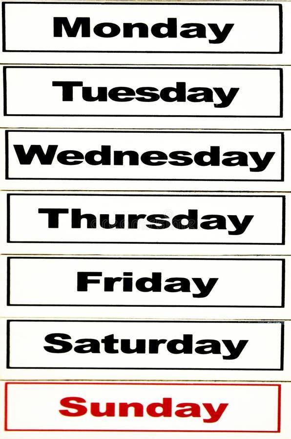 Dagen van de week royalty-vrije stock afbeeldingen