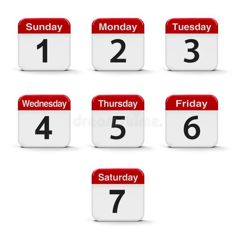Dagen van de week stock illustratie