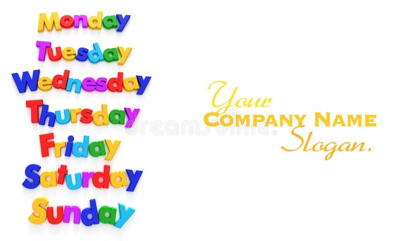 Dagen van de week in brievenmagneten royalty-vrije illustratie