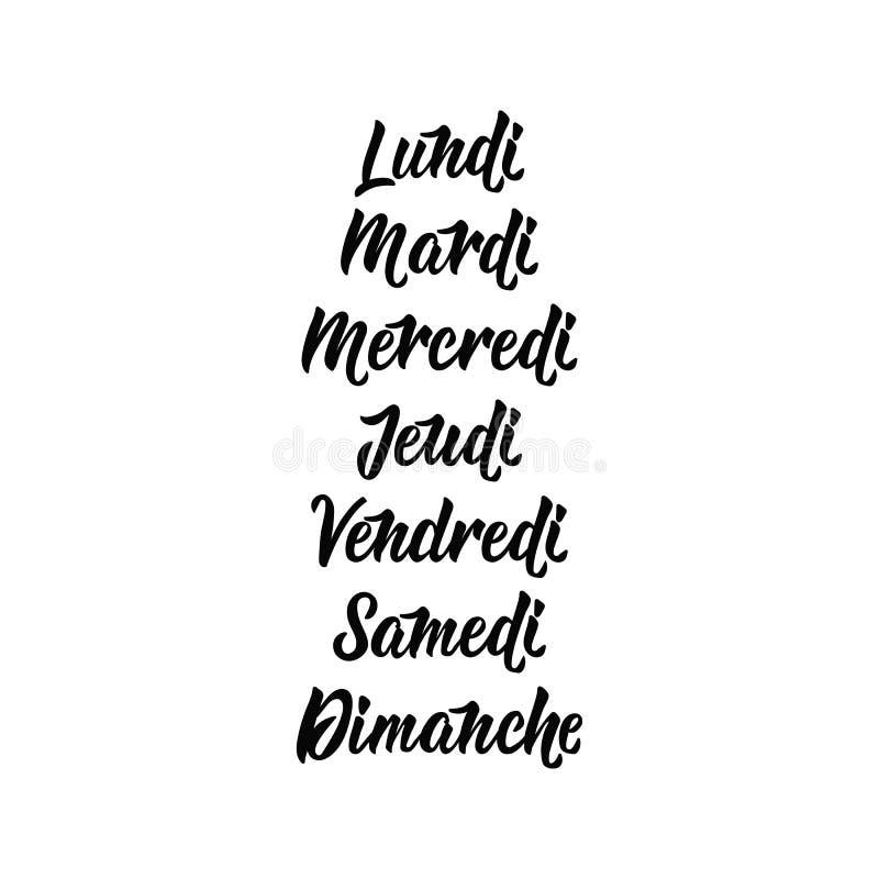 Dagen van de week in het Frans lettering Vectorkalligrafiewoorden voor kalenders en organisatoren Lundi, mardi enz. royalty-vrije illustratie