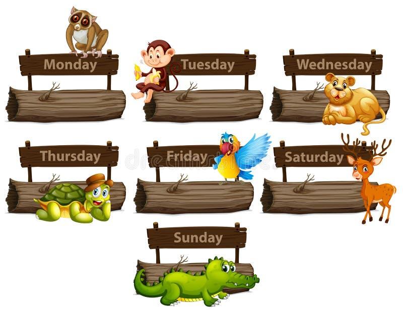 Dagen van de week met vele dieren stock illustratie