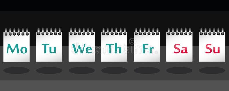 7 dagen van de week op nota in vector royalty-vrije illustratie