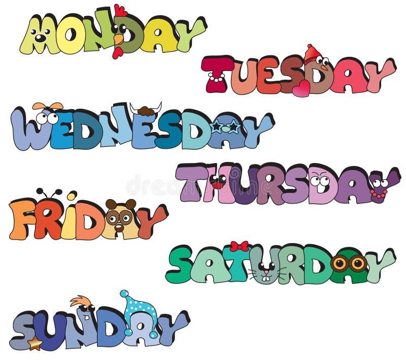 Dagen van week vector illustratie