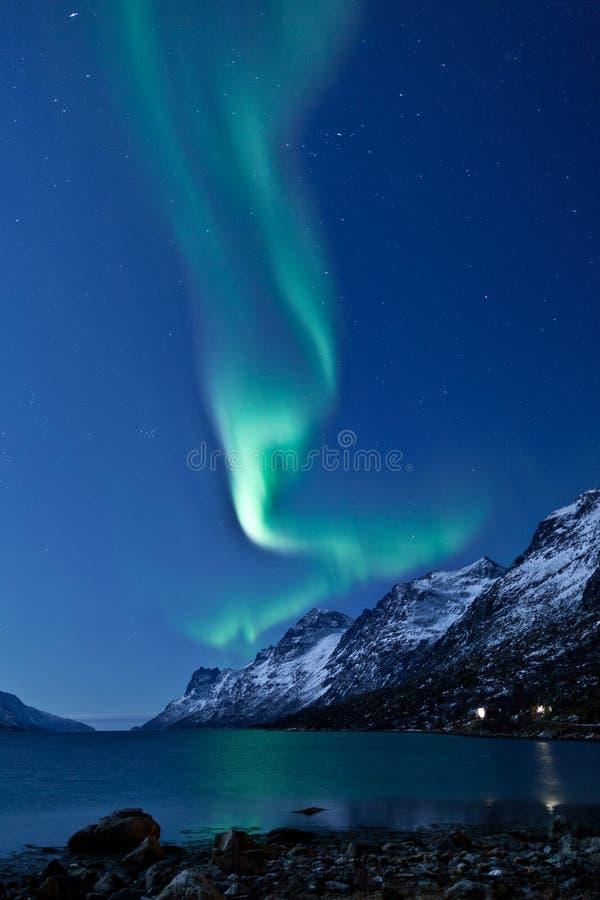 Dageraad Borealis die (Noordelijke lichten) nadenkt royalty-vrije stock afbeeldingen