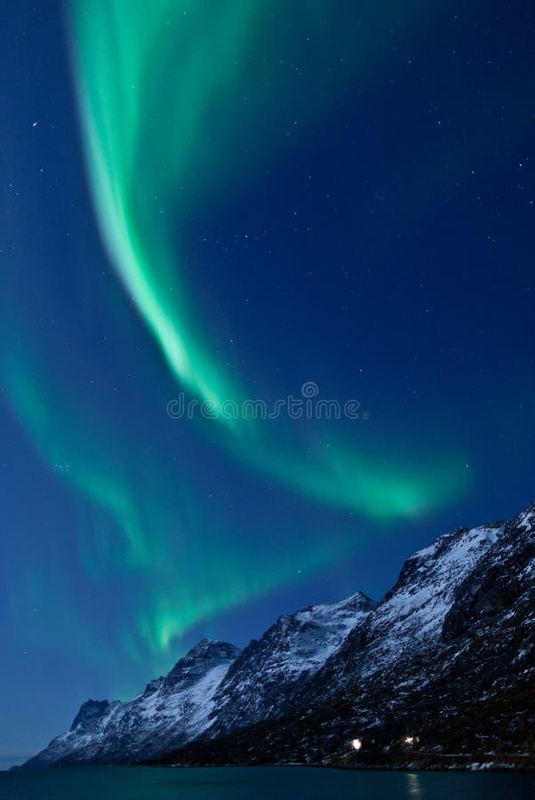 Dageraad Borealis die (Noordelijke lichten) nadenkt royalty-vrije stock foto's