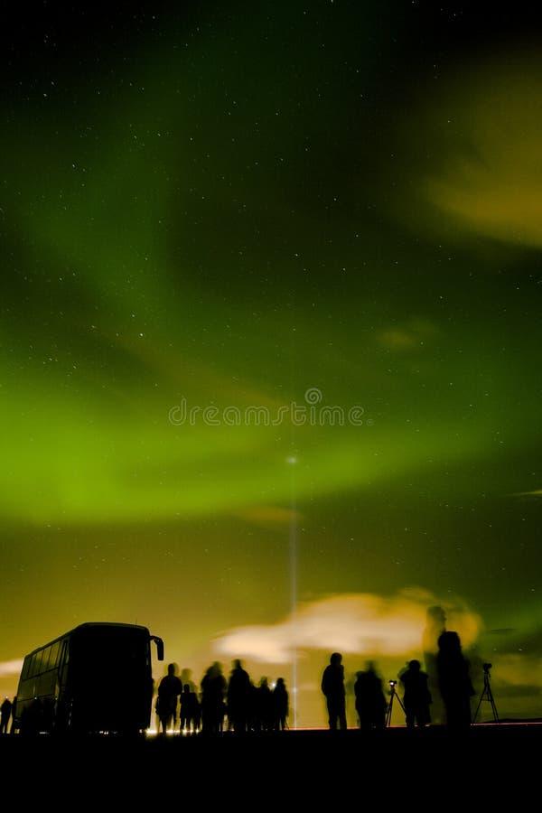Dageraad Borealis, Noordelijke Lichten stock foto's
