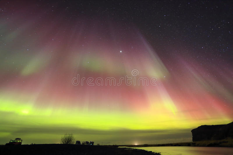 Dageraad Borealis, Noordelijke Lichten stock afbeelding