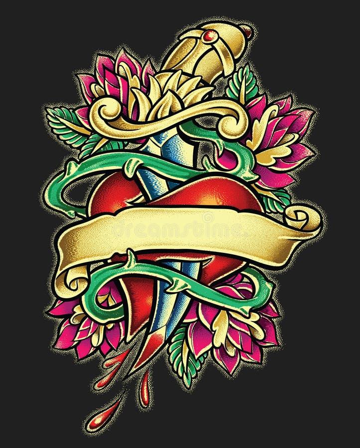 Dagger Heart Tattoo illustration stock
