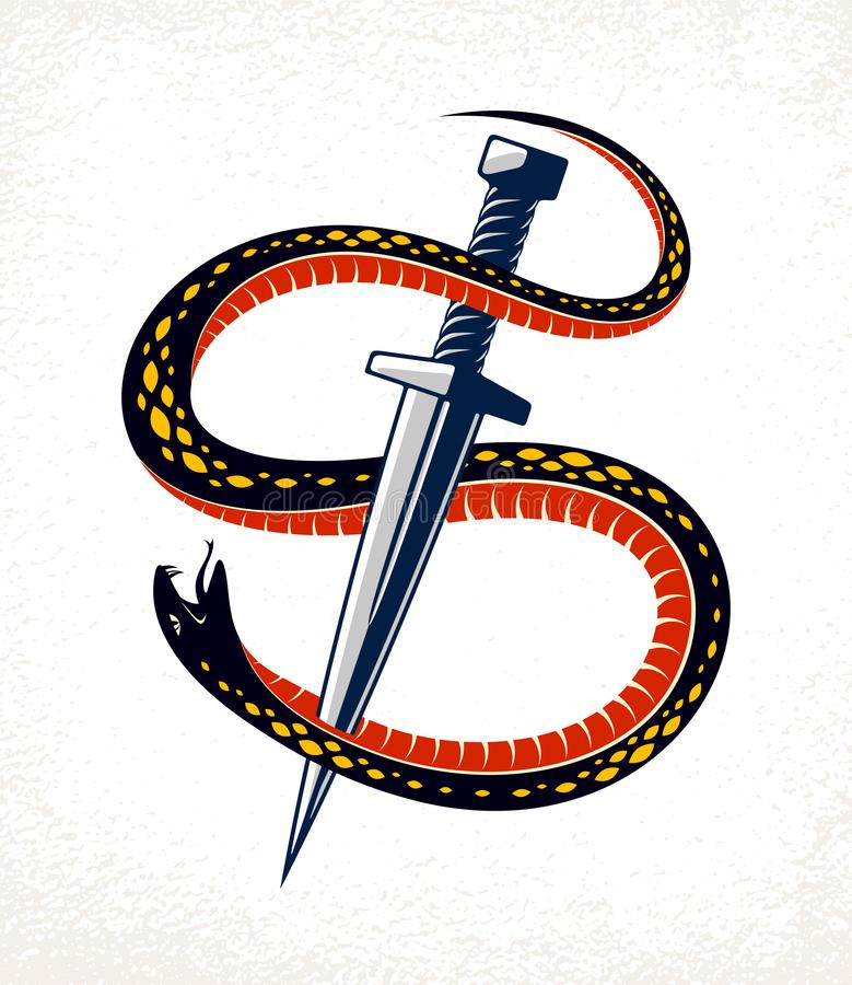 Dagger kills a Snake, defeated Serpent wraps around a sword vector vintage tattoo, Life is a Fight concept, allegorical logo or royalty free illustration