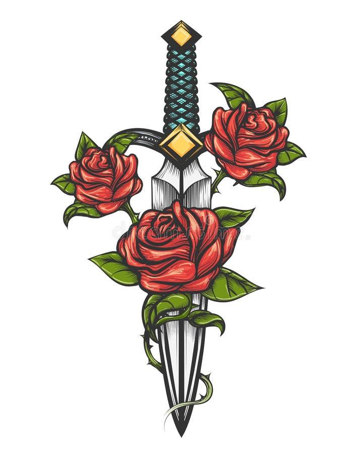Dagger Knife e Rose Flowers Drawn no estilo da tatuagem ilustração royalty free