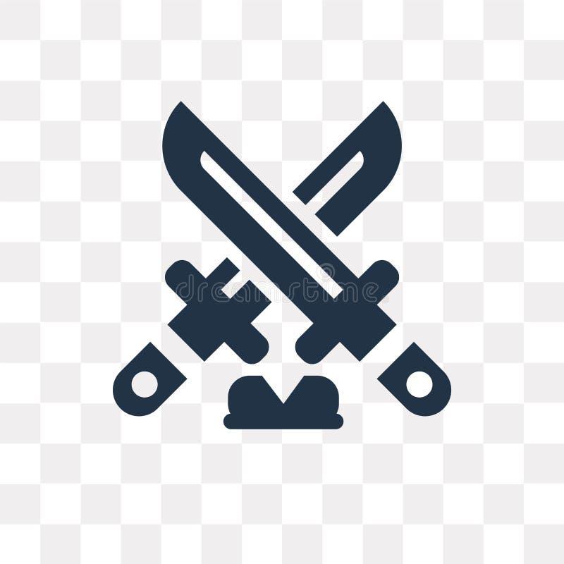 Dagger o ícone do vetor isolado no fundo transparente, punhal t ilustração royalty free