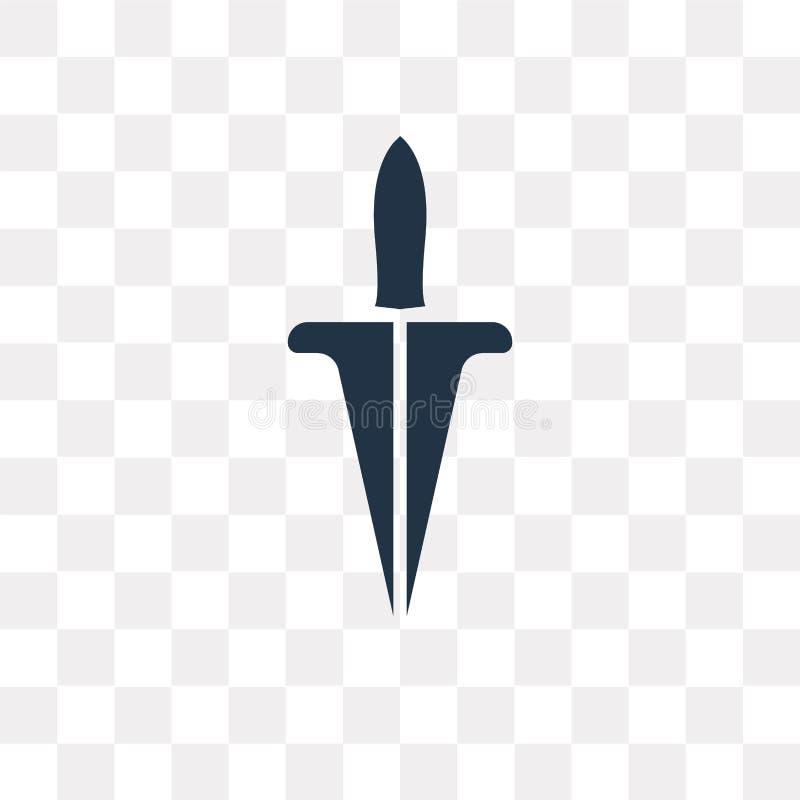 Dagger o ícone do vetor isolado no fundo transparente, punhal t ilustração do vetor