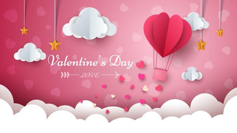 Dagillustration för valentin s Luftballong, moln, stjärna stock illustrationer