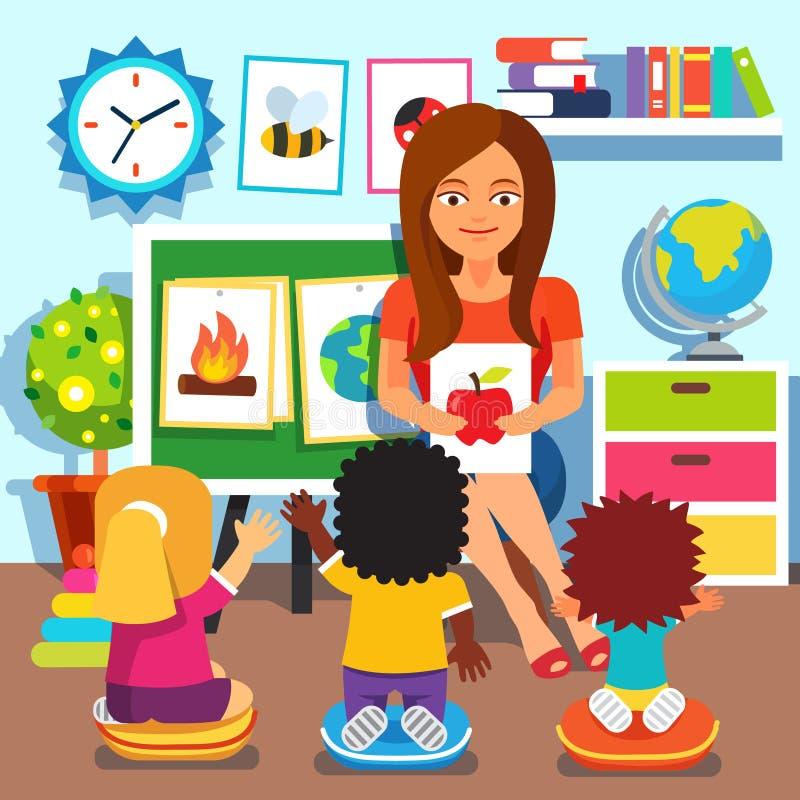 dagis Barn som studerar i klassrum royaltyfri illustrationer