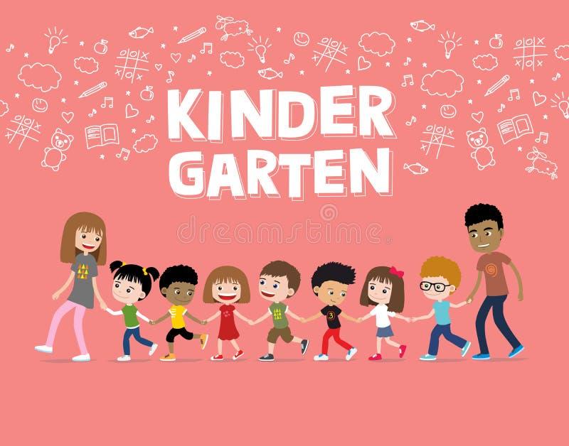 Dagis- eller förträningsbarn som går med lärare Tecknad filmillustration av gladlynta ungar stock illustrationer