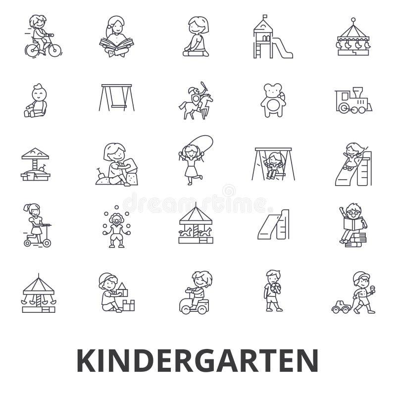 Dagis förträning, lärare, barnkammare, lekplats, daycare, ungar som spelar linjen symboler Redigerbara slaglängder Plan design vektor illustrationer