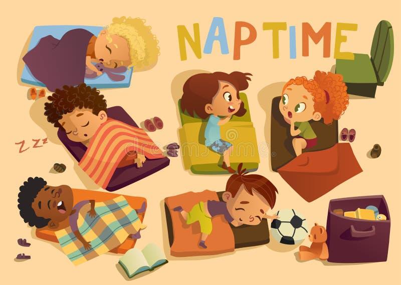 Dagis Nap Time Kid Vector Illustration Förskole- blandras- barn sover på säng, skvaller för flickavän little stock illustrationer