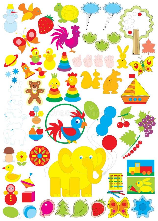 dagiset objects enkelt stock illustrationer