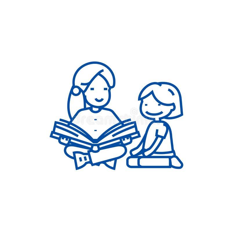 Dagislärare, kvinnaläsninglinje symbolsbegrepp Dagislärare, läsande plant vektorsymbol för kvinna, tecken stock illustrationer