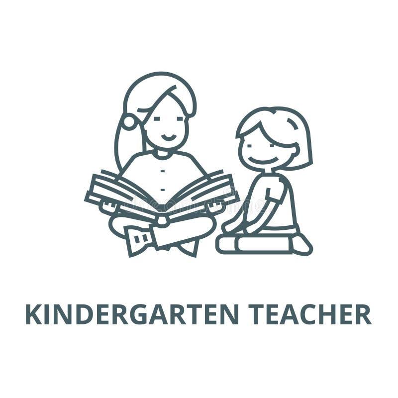 Dagislärare, linje symbol, linjärt begrepp, översiktstecken, symbol för kvinnaläsningvektor stock illustrationer