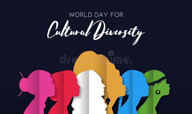 Dagkort för kulturell mångfald av olika kvinnahuvud royaltyfri illustrationer