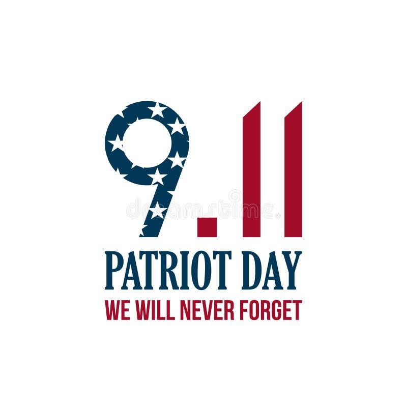9 Dagkort för 11 patriot Vi ska glömma aldrig royaltyfri illustrationer