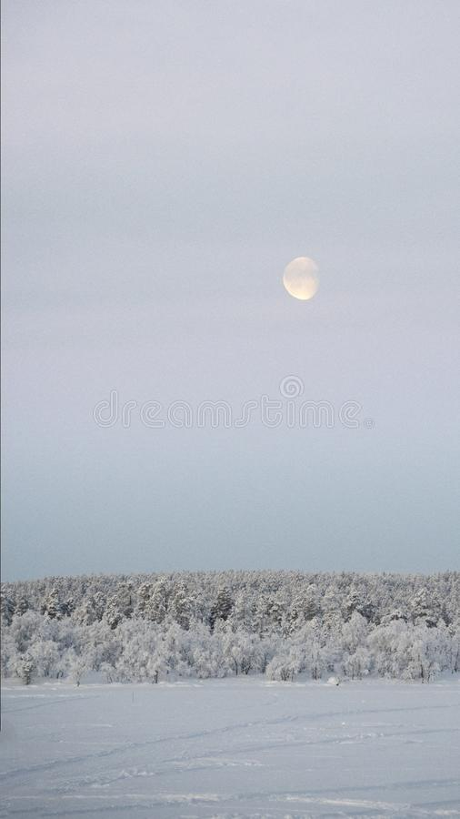 Daglichtmaan, in de stijgingen van de ochtendhemel over bevroren meer stock fotografie