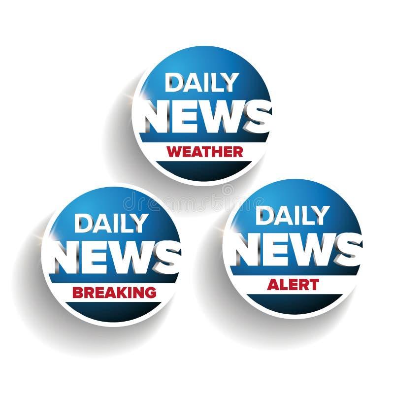 Daglig nyheternauppsättning - väder som bryter, varning vektor illustrationer