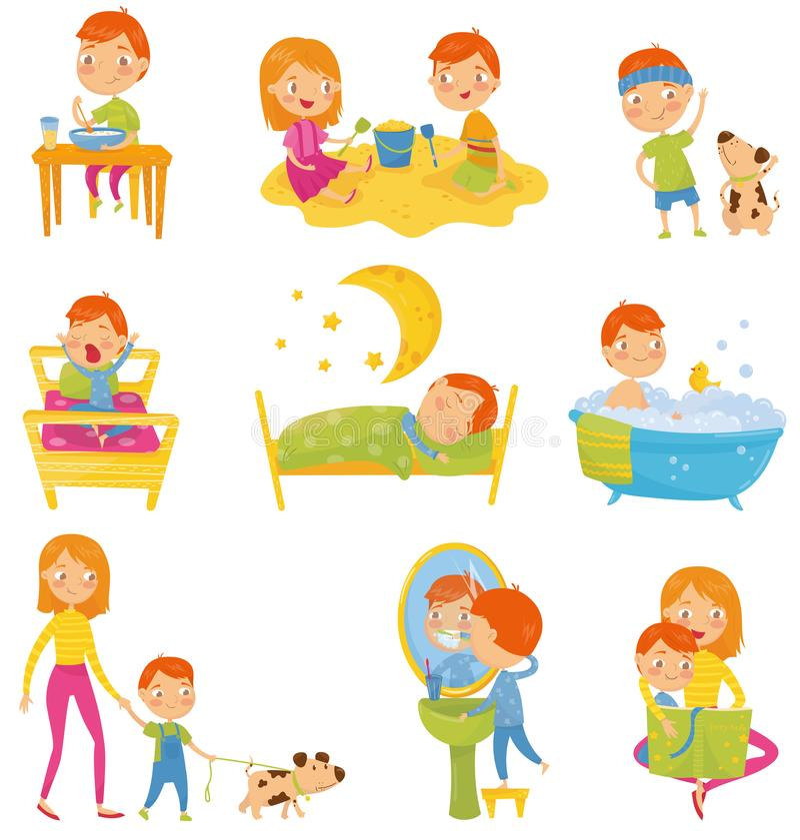 Daglig rutin av pysen Lura att äta frukosten och att spela och att göra fysiska övningar och att vakna upp, att sova som tar bade stock illustrationer