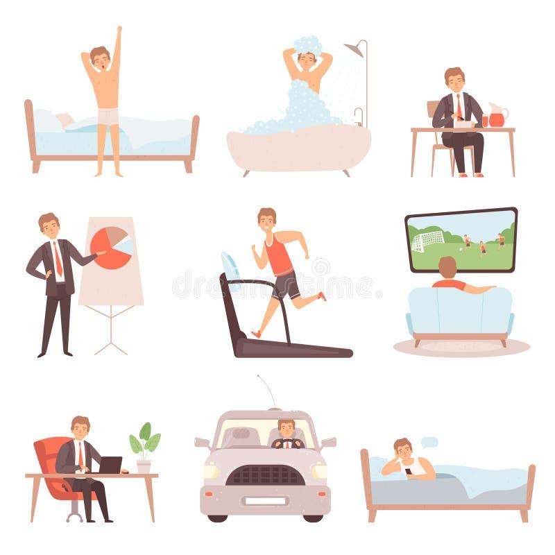 Daglig rutin för aktiv man Arbetar dagliga affärsmän för livsstil upptagna det isolerade folkvektorteckenet vektor illustrationer