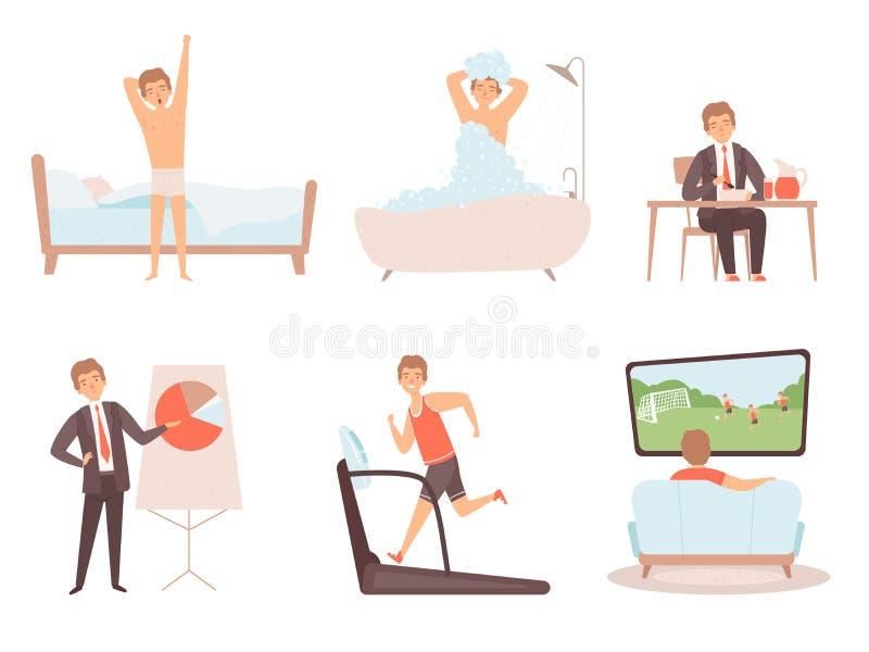 Daglig rutin f?r man Tecken för vektor för livsstil för natt för morgon för affärsmanarbetsdag dagliga stock illustrationer