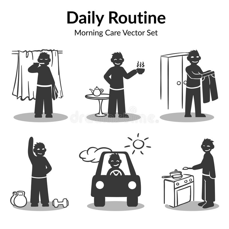 Daglig rutinmässig samling för morgon stock illustrationer
