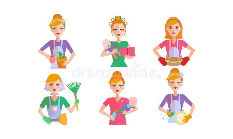 Daglig rutinuppsättning för kvinna, ousewifelokalvård och hushållningvektorillustration på en vit bakgrund royaltyfri illustrationer