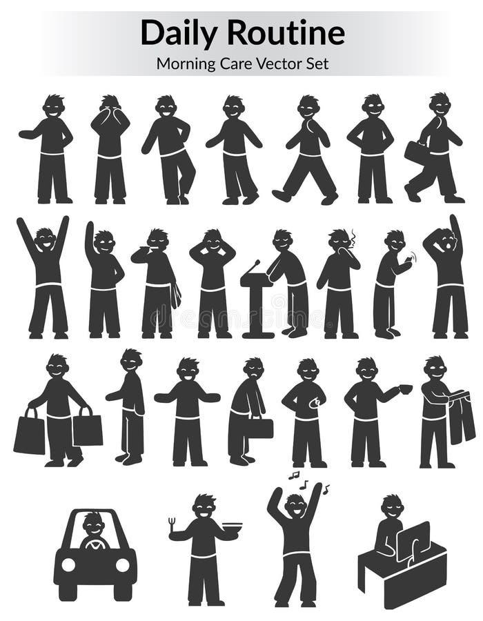 Daglig rutinuppsättning för monokromt klotter royaltyfri illustrationer
