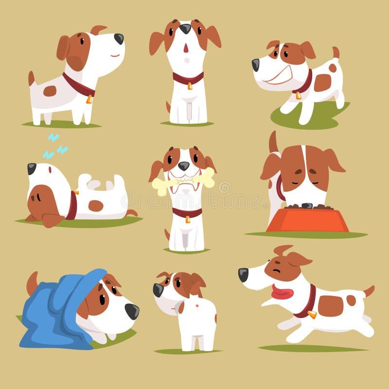 Daglig rutinuppsättning för rolig valp, gullig liten hund i hans färgrika tecken för evereday aktivitet stock illustrationer