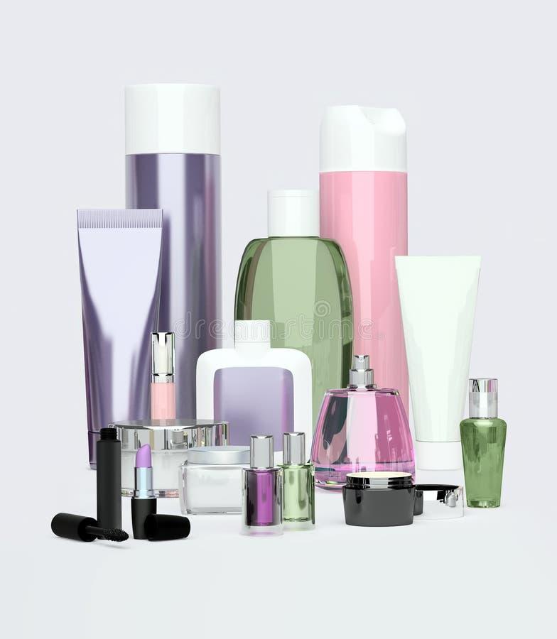 Daglig, skönhetomsorgskönhetsmedel och sminkprodukter Framsidakräm som är ey royaltyfri illustrationer