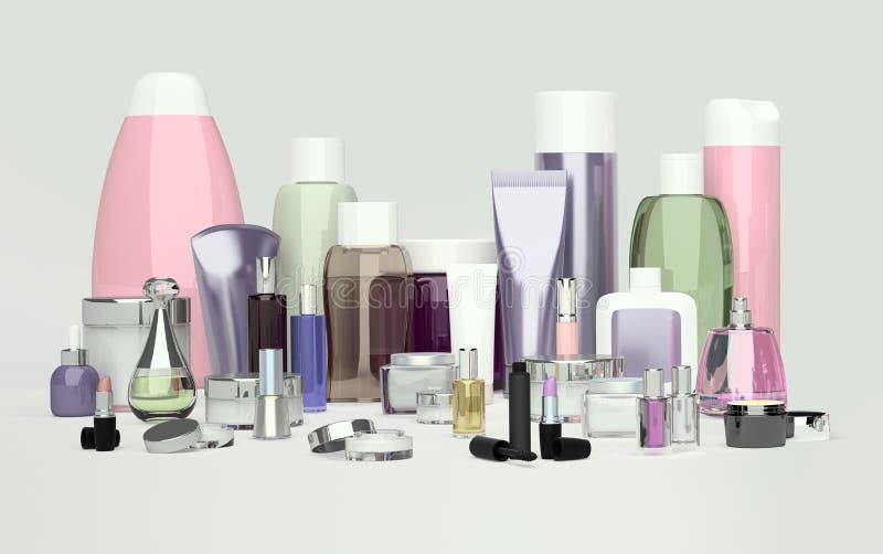 Daglig, skönhetomsorgskönhetsmedel och sminkprodukter Framsidakräm som är ey stock illustrationer