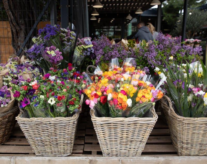 Dagliga blommor kontrar med variation av nya klippta blommor liksom anemoncoronaria, persiska smörblommor, freesia arkivfoton