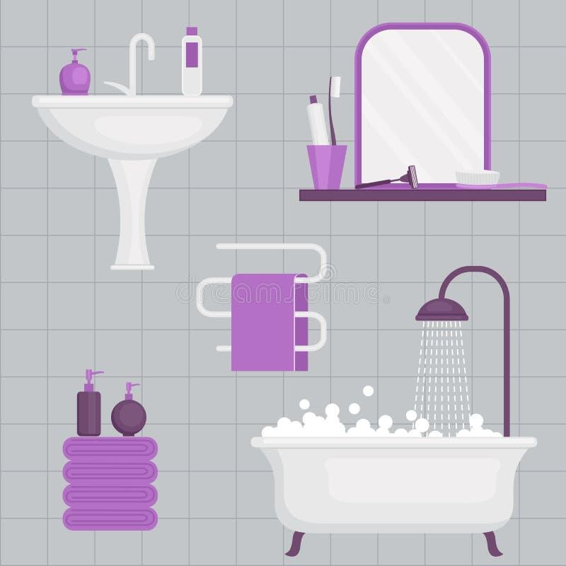 Dagliga hygienvektorsymboler stock illustrationer