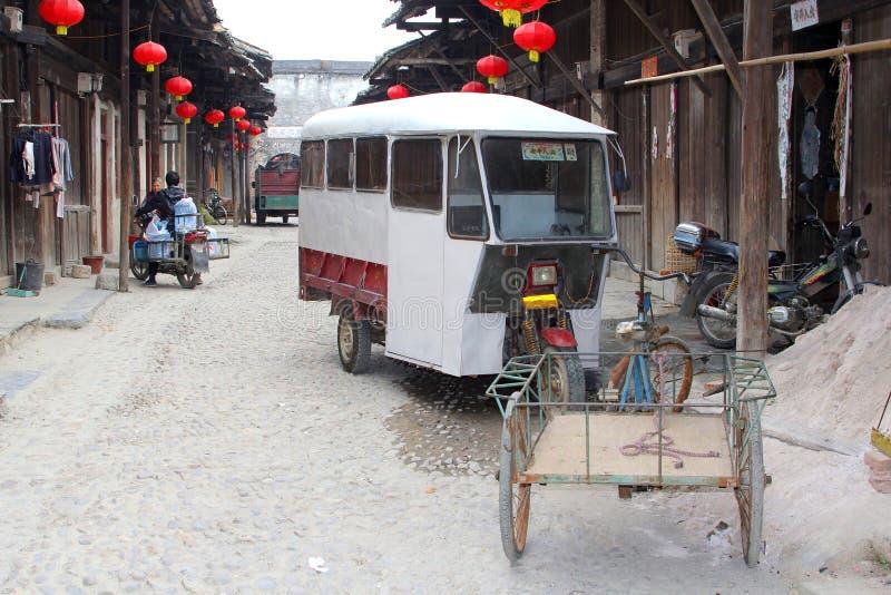 Dagligt liv i den traditionella gamla staden Daxu nära Guilin i Kina arkivbild