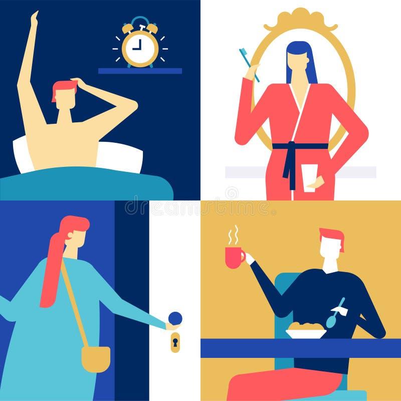 Dagligt rutinmässigt - färgrik illustration för plan designstil stock illustrationer