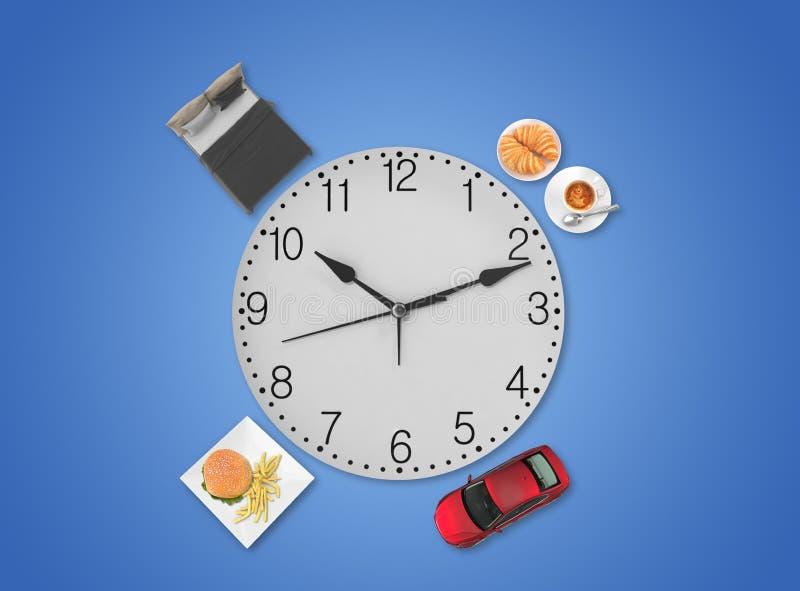 Dagligt schema med klocka och andra artiklar fotografering för bildbyråer