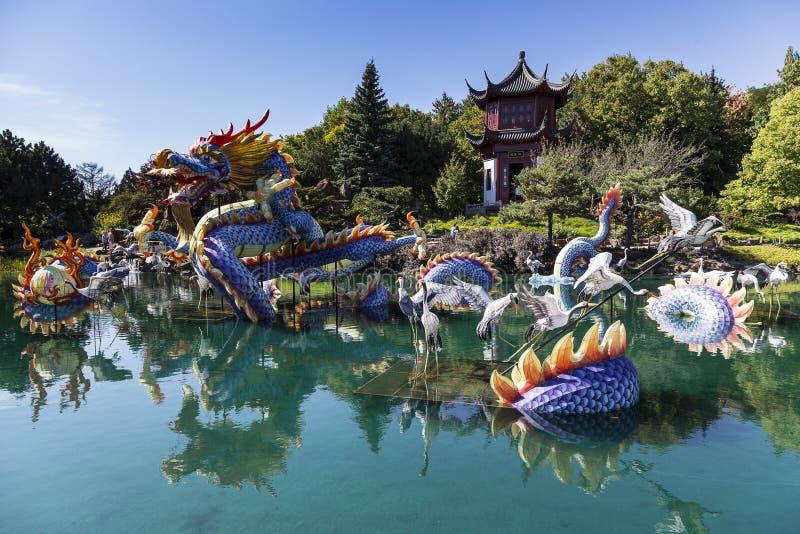 Dagmening van de Chinese Tuin in de Botanische Tuinen van Montreal's royalty-vrije stock foto