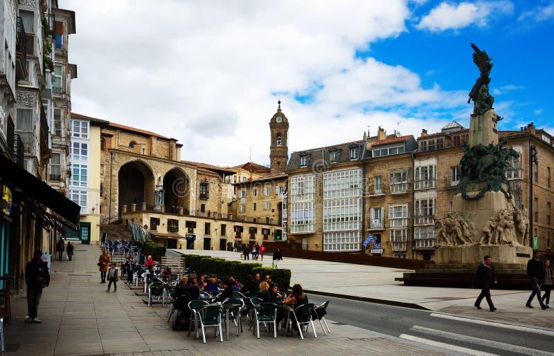 Dagmening van het plein van Virgen Blanca Square Andre Maria Zuriaren V royalty-vrije stock fotografie