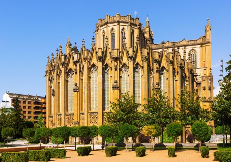 Dagmening van Kathedraal van Mary Immaculate Vitoria-Gasteiz stock fotografie