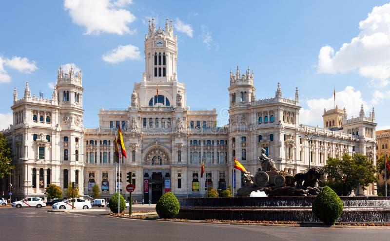 Dagmening van Paleis van Mededeling in Madrid royalty-vrije stock afbeelding