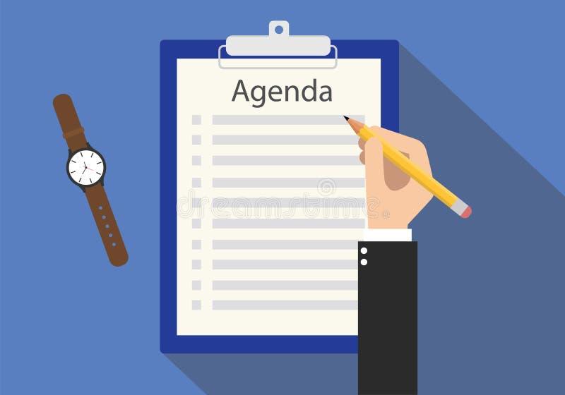 Dagordning som möter för att göra listan på skrivplattan arkivfoton